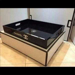 Large Acrylic Black Tray Makeup Org